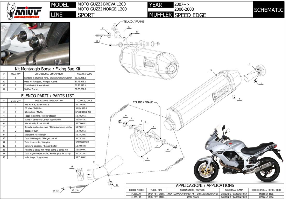 M008lrb Muffler Mivv Speed Edge Steel Black Moto Guzzi Breva Engine Diagram Details