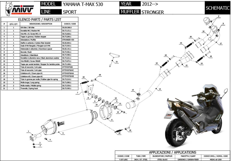 Schema Elettrico Max : Y lrx full exhaust mivv sport speed edge inox yamaha t max