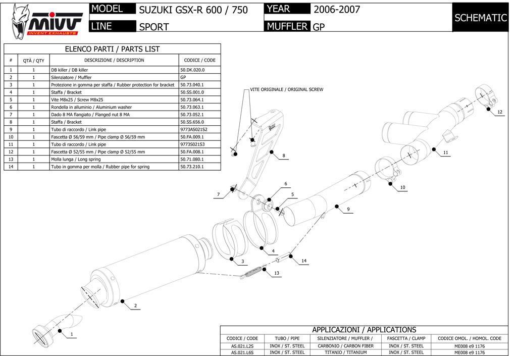 AS.021.L2S - Silencer Exhaust Mivv GP Carbon P.Alto Suzuki GSX-R 600 ...